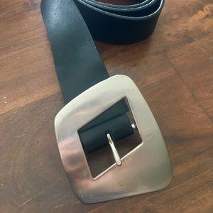 Express Black & Silver Belt Buckle Leather Belt